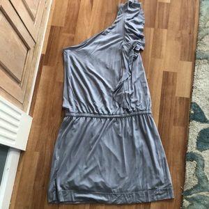 Grey one-shoulder express dress
